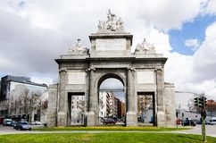 Front view of Puerta de Toledo one of the top places to visit in Madrid Spain. Sunny day. Horizontal shot Stock Image