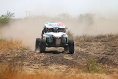 Front view of Racing white Bat rally car Stock Image
