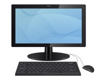 Computer monitor with keyboard and mouse. Stock Photos