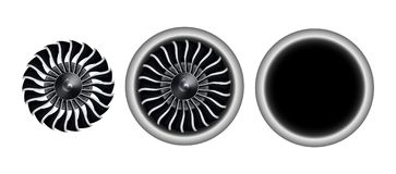 Realistic 3D turbo-jet engine of airplane vector illustration. Front view of realistic 3D turbo-jet engine of airplane vector illustration Stock Image