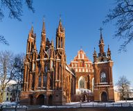 Front view of the red brick gothic church in Vilnius, Lithuania stock image