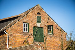 Front view red brick house Royalty Free Stock Photo