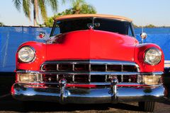 Front view of red convertible car Royalty Free Stock Photos