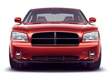 Front view of red perfomance car Stock Photo