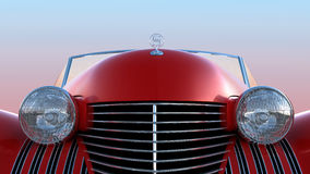 Front view of red retro car. Over blue sky background Royalty Free Stock Photography