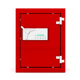 Front view of red safe box. With digital lock. 3d Image Royalty Free Stock Image