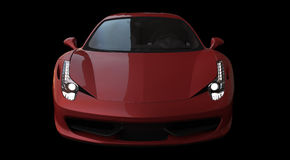 Front view of a red sportcar Royalty Free Stock Images