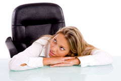 Front view of resting businesswoman Stock Photography