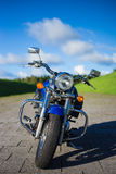 Front view of retro motorbike on the road Royalty Free Stock Photo