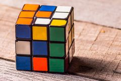 Front view of the retro puzzle cube. Stock Image
