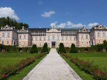 Front view of rococo castle Nove Hrady, czech Republic Royalty Free Stock Images