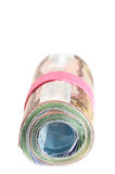 Front view of a Roll of banknotes Royalty Free Stock Image