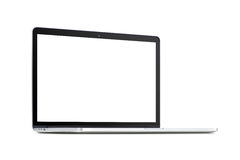 Front view of a rotated modern laptop with blank screen Stock Photos
