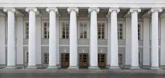 Front view of a row of white columns Royalty Free Stock Image