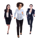 Front view of running business women isolated on white. Background Royalty Free Stock Photography