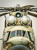 Front view of russian military helicopter. Stock Photos