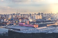 São paulo landscape in the sunset royalty free stock image