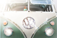 Front view of a 1960s VW campervan. Royalty Free Stock Photos