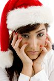Front view of sad businesswoman in christmas hat Royalty Free Stock Photos