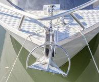 Front view of sailboat prow moored in the harbor. Royalty Free Stock Photography