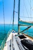 Front view of sailing boat on the sea. royalty free stock photos