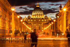 Front View of Saint Peter's Basilica by night,Vatican Stock Photography