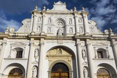 Front View of San Jose Parish Facade, former site of Magnificent Antigua Cathedral, at east side of Parque Central in Guatemala. Antigua Guatemala Cathedral stock photography