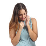 Front view of a scared woman Royalty Free Stock Photos
