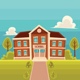 Front view school building cartoon vector illustration. School building cartoon vector illustration on landscape background. Front view of entrance to classical Royalty Free Stock Photos