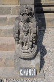 Front view of Sculpture at the Entrance stairs of Nandi Temple at Prambanan Temple Compounds Stock Image