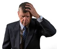 Front view of senior caucasian man worried and afraid stock image