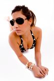 Front view of sensuous woman wearing sunglasses Royalty Free Stock Photography