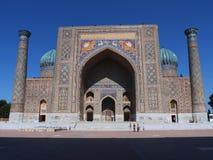 Front view of Sher Dor Madrasah in Registan Square, Samarkand, Uzbekistan Royalty Free Stock Photo