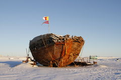 Front view of the shipwreck remains of the Maud, Cambridge Bay Nunavut. Shipwreck remains of the Maud, named for Queen Maud of Norway, a ship built for Roald Stock Images