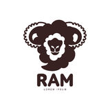 Front view silhouette ram, sheep, lamb head graphic logo template Stock Photography