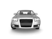 Front view of silver car. On white background. For more views and colors of this car please visit my portfolio Stock Photo
