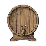 Front view of sketch style wooden barrel with tap Stock Photos