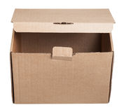 Front view of slightly open cardboard box isolated Royalty Free Stock Image