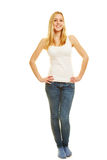 Front view of slim blonde woman Royalty Free Stock Image