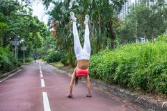 Front view of slim fit young woman practicing yoga doing straight handstand on park path summer day. Sporty girl royalty free stock image