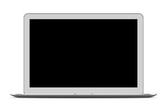 Front view of Slim Laptop Computer on white Royalty Free Stock Photos