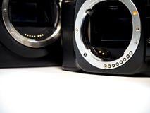 SLR camera body metal bayonet lens mount without lens Stock Photos