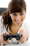 Front view of smiling attorney playing videogame Royalty Free Stock Image