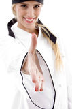 Front view of smiling chef offering handshake Stock Photography