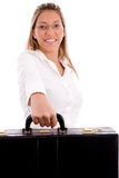 Front view of smiling lawyer holding briefcase Stock Images