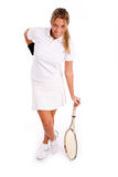 Front view of smiling player with tennis racket Stock Image