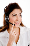 Front view of smiling telecaller Royalty Free Stock Images
