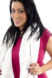 Front view of smiling woman with towel stock photos