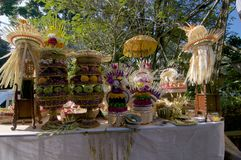 Balinese traditional ceremonial offerings in Ubud royalty free stock photography