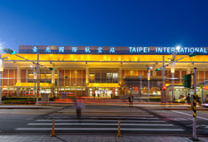Front view of songshan airport at night. Night view of songshan airport in taipei Royalty Free Stock Images